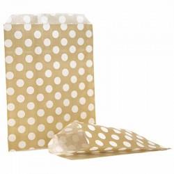 Gold & White Polka Dot Candy Bag 100 Pack