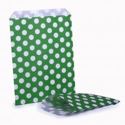 Green & White Polka Dot Bag 100 Pack