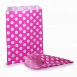 Pink & White Polka Dot Candy Bag 100 Pack