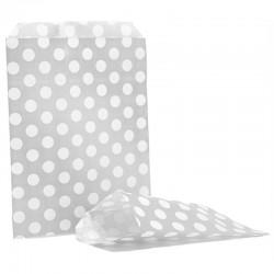 Silver & White Polka Dot Candy Bag 100 Pack