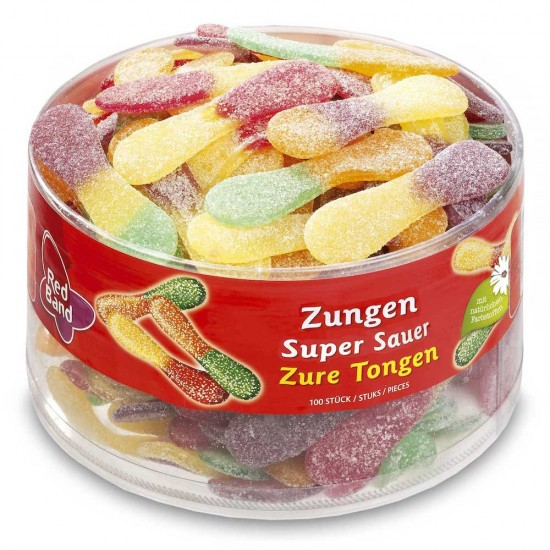 Red Band Giant Sour Tongues: 100-Piece Tub
