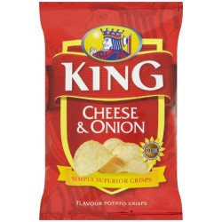 King Crisps Cheese & Onion: 50-Piece Box