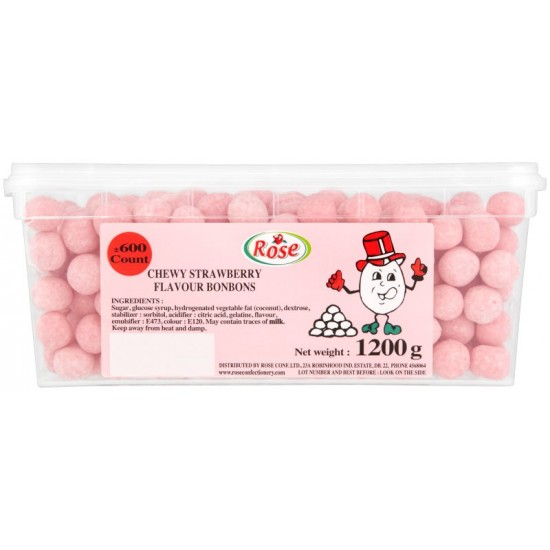 Mini Strawberry Bon Bons: 600-Piece Tub