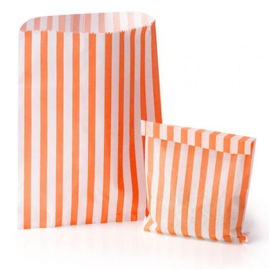 Orange Stripe Candy Bag 100 Pack