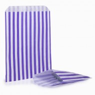 Purple Stripe Candy Bag: 100 Pack