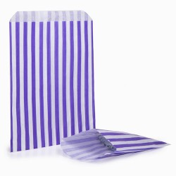Purple Stripe Candy Bag: 100 Pack