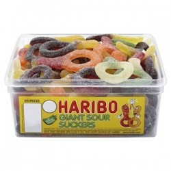 Haribo Giant Sour Suckers: 75-Piece Tub