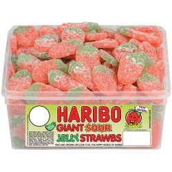 Haribo Giant Sour Strawbs: 150-Piece Tub